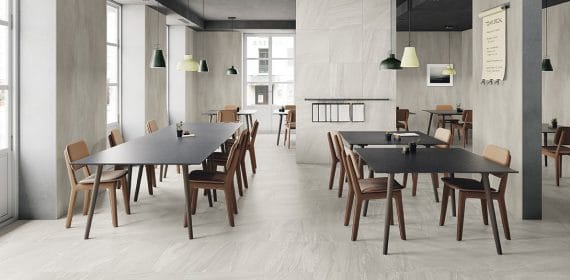 Clash tile in Spirit used in a commercial dining area